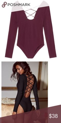 $38❤️Wine Lace-up Scoopback VS Bodysuit ❤️This listing is for 1 Brand New Victoria's Secret Small Ruby Wine Body Suit. The bodysuit is back and—with a flirty scoopneck and a laced-up back—hotter than ever. * Lined * Pulls on; no closure * Scoopneck; low scoopback with crisscross lacing * Bikini bottom * Imported cotton/spandex * Retail: $48 Victoria's Secret Intimates & Sleepwear Shapewear