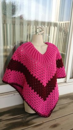 Hot Off My Hook! Project: Cowl-Neck Poncho Started: 09 Oct 2015  Completed: 11 Oct 2015 Model: Madge the Mannequin Crochet Hook(s): 7mm, Cowl portion J, Granny Stitch Yarn: Crafter's Secret, Redheart Super Saver, Color(s): Passion, Claret Pattern Source: Simply Crochet Magazine Issue No. 25 Pattern Designed By: Simone Francis Notes: This is my 35th Cowl-Neck Poncho!