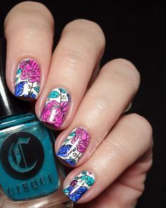 Sassy Shelly: Nails and Attitude: Digit-al Dozen DOES Floral - Leadlight stamping with Cirque & MoYou ~ plus Kontiki Collection swatches!
