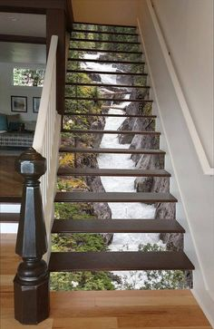Maligne River Stair 66 Risers Staircase Stairway Stairs Risers Stickers Mural Photo Mural Vinyl Decal Wallpaper Removable - coole Wohnideen - Pictures on Wall ideas Decoration Photo, Stair Risers, Stair Steps, Stair Railing, Stairways, My Dream Home, Home Projects, Pallet Projects, Sewing Projects