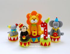 Edible Fondant Circus Animals Cake Toppers