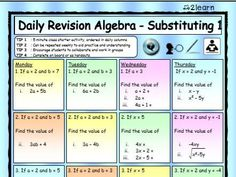 Daily revision worksheets set out in Daily Columns in a bright interactive format to encourage students to work effectively and mark their work collaboratively or alone. Teaching Methods, Teaching Resources, Secondary Math, Algebra 1, Columns, Worksheets, Computers, High School, Encouragement