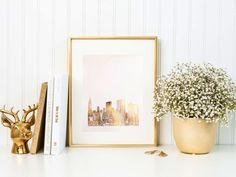 New York skyline gold foil print on heavyweight cardstock.  Available in 8.5x11in and 5x7in  Print shipped, not a digital download.