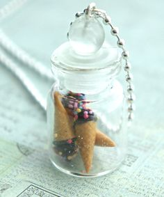 chocolate ice cream in a jar necklace