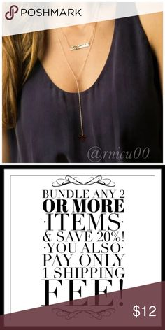 """🆕Arrival! Stacey Bar Triangle Pendant Necklace! HOT 2017 Trend- Multi-Layered Minimalist, Boho, Sexy Style Necklace!   ✨Gold Plated Fashion Jewelry  ✨2-Layers in 1 Necklace! Lobster Clasp Closure, 2"""" Extender; Bar Pendant Lands at 16"""" Length; Triangle Pendant hangs 9"""" from Bar Pendant  *NO TRADES *Prices are FIRM-Listed at Lowest Price Unless BUNDLED! *Sales are Final-Please Read Descriptions! Boutique Jewelry Necklaces"""