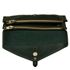 Handmade Women's leather Wallet in forest green by iyiamihandbags