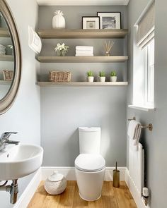 Small Downstairs Toilet, Small Bathroom Paint, Small Toilet Room, Downstairs Cloakroom, Simple Bathroom, Grey Bathroom Decor, Small Bathroom Decorating, Small Toilet Decor, Small Bathroom Ideas