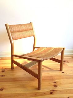 Pierre Gautier Delaye; Oak and Rush Lounge Chair, c1956.