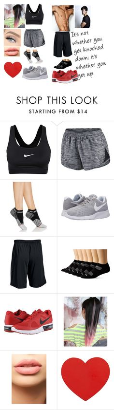 """""""Athletic Couple (Read Belowwwwww)"""" by alexblackwood ❤ liked on Polyvore featuring NIKE, Stance, Under Armour, Saucony and LASplash"""