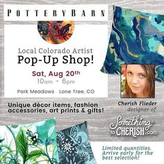 I'm excited to be exhibiting my art this SAT at Pottery Barn! It's an honor be be the FIRST Artist Pop-Up Shop for the Park Meadows location. In addition to art prints I have been working on some designs for high quality pillows cutting boards latte mugs tea towels aprons journals cards and more! If you are in the area I would love to see you in person. :) More info on the website: SomethingToCherish.com @potterybarn_parkmeadows #potterybarn #somethingtocherish #cherishflieder #pillowdesign