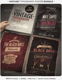 Vintage Typography Poster Bundle by punedesign Features Well organized and named layers 4 PSD Files / 3 Posters / A4 Size / CMYK Print ready / 300dpi / Bleed .25 / Free fonts us