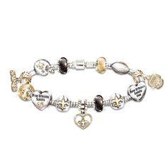 New Orleans Saints Charm Bracelet With Swarovski Crystals $119