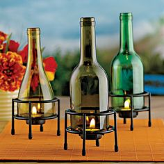 Recycled Wine Bottle Tealight Holder (Set of 3) - Wine Enthusiast