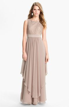 Eliza J Sleeveless Lace & Chiffon Gown | Nordstrom