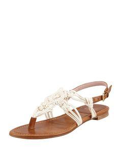 Stuart Weitzman Corded Thong Flat Sandal Saddle Sz 9 #StuartWeitzman #Sandals