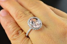 Rebecca Engagement Ring Oval Cut Morganite by DiamondDoveJewelry