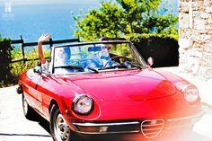 bride and groom, in cabrio,  wedding photoshoot, wedding day, cilento coast, sposa mediterranea