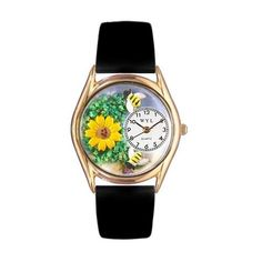 Whimsical Watches Sunflower Black Leather And Goldtone Watch