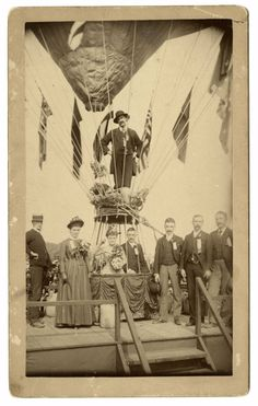 "The September 27, 1888, wedding of Margaret Buckley and Edward T. Davis was held at the Rhode Island State Fair at Narrangansett Park in Providence. An article in Frank Leslie's Illustrated Newspaper estimates that 40,000 watched as Davis and Buckley entered the ""specially prepared 'bridal car' of the mammoth balloon Commonwealth, held down by 24 men at the guy ropes.""  After the ceremony, aeronauts James Allen and his son James K. directed the balloon skyward."