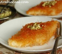 If there's one dessert that rules as the Queen of Arabic sweets, I would nominate Kunafe Nablusia, the sticky pastry made of gooey sweet cheese sandwiched between layers of shredded kunafe pastry. This specialty from the Palestinian city of Nablus is prep Arabic Dessert, Arabic Sweets, Arabic Food, Middle East Food, Middle Eastern Desserts, Lebanese Recipes, Turkish Recipes, Persian Recipes, Knafeh Recipe Lebanese
