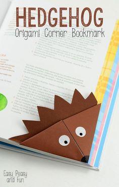Hedgehog Corner Bookmark - Origami for Kids - Easy Peasy and Fun