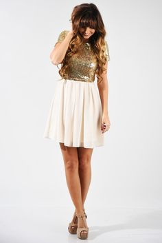 New Year's Resolution Dress: Gold/Cream #shophopes