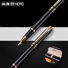 59.88$  Buy here - http://aiptj.worlditems.win/all/product.php?id=32803206337 - HERO 1179 Luxury 10K Golden Nib Fountain Pen 0.5mm High Quality Business Gift Pens with Original Gift Case Office Supplies