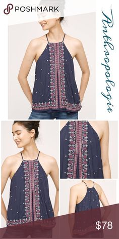 Anthropologie Midnight Flower Swing Tank Top Stylish, flattering top by Floreat in polyester with rayon embroidery, great quality, beautiful colors that can be paired with anything Anthropologie Tops