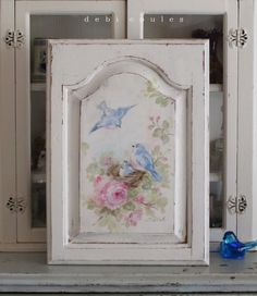 Shabby Romantic Vintage Style Bluebird and Roses Panel - Debi Coules Romantic Art