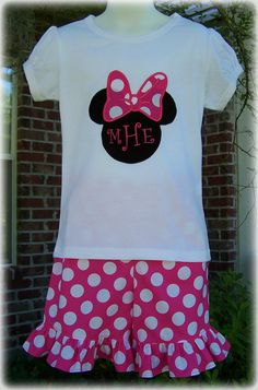Custom Boutique Clothing Girls Disney Minnie Mouse Pink and White Polka Dot Short Set Size 6mos to 6yr