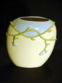 Hand Painted Rueven Glass Vase By Nouveau Art Glass INC USA Floral Oval