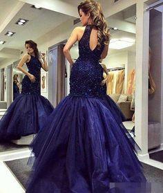 Mermaid Halter Tulle Sexy Handmade Prom Dress,Long Prom Dresses,Prom