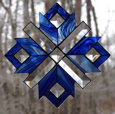 Stained Glass Blue Ice Snowflake by theglassmenagerie on Etsy