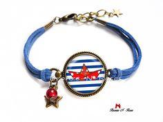 """Bracelet """" Made in France """" cabochon bleu et rouge rayures : Bracelet par bronze-n-roses"""