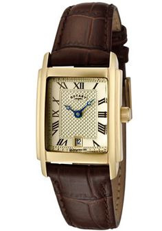 Rotary Women's Champagne Textured Dial Brown Leather Watch $139.99