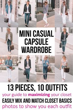 mini casual capsule wardrobe - 13 pieces, 10 outfits, post with everything you need to easily mix and match your closet using basics you already have, your guide to maximizing your closet Ankle Boots With Jeans, How To Wear Ankle Boots, Keds, Closet Basics, Black Slip On Sneakers, Fashion Over 50, Women's Fashion, Fashion Outfits, Work Fashion
