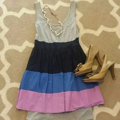BOGO 50% OFF  Color Block Mini Dress This dress is perfect for a night out! There is a gray lining underneath that matches the gray top, and the lining fits like a body con dress. The color block fabric is a fit and flair style.   Shoes also for sale!  All items now Buy One Get One 50% Off! Comment which items you want and I'll create a new listing for you to purchase! As You Wish Dresses Mini