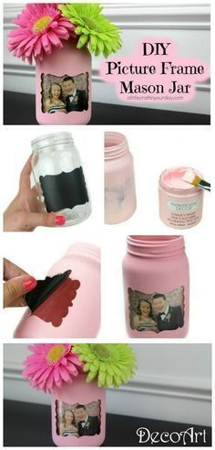 DIY Picture Frame Mason Jar. Mix pictures and mason jars and create this lovely DIY craft! You can use it as a deor piece in your home, or it can also be a great gift idea!