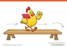 Bewegingskaarten kip voor kleuters 13, Met pittenzak op je schouder over de bank , kleuteridee.nl , thema Lente, Movementcards for preschool...