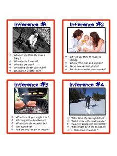 Inference Task Cards, Pictures and Text, Common Core Differentiated