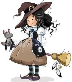 Her little hat - so cute! Sylvia Zet: Hazel The Witch Halloween Clipart, Holidays Halloween, Halloween Crafts, Happy Halloween, Halloween Decorations, Witch Clipart, Whimsy Stamps, Digi Stamps, Cute Images
