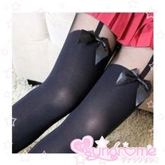 Japanese Mock Garter Tights with Bows SD00078
