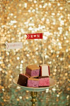 Love the little flags on top of treats for your dessert / candy / champagne bar.