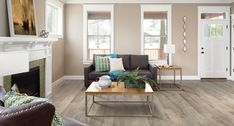 Rustic Wood smooth laminate floor. Warm, burnished colors, rustic finish, 10mm 1-strip plank laminate flooring, easy to install, PERGO lifetime warranty.