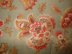 Antique French Indienne Floral Fabric 1 Gray Red Olive Eggplant Aged Patina | eBay