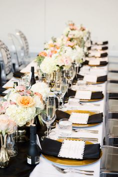 Black and pastel colored tablescape for wedding
