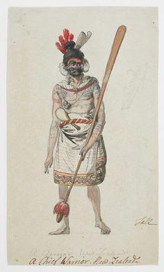Maori warrior chief. Philip James de Loutherbourg; artist; circa 1785, John Webber; artist; 1785