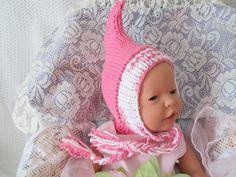 Handknit Pink Pixie Hat elf hat pixie bonnet by Ritaknitsall
