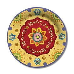 C.R. Gibson 8 Count Lunch/Dessert Plates, Tunisian Sunset...…