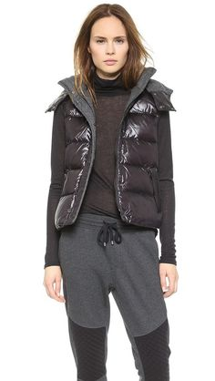 Shiny Puffer Vest with hood